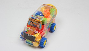 School buses mix multicolor puzzle blocks weighing 200 grams (48PCS +)